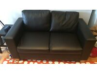 Two Seater Faux Leather Sofa (Black) in great condition