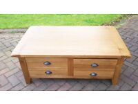 Solid Oak Coffee Table with Drawers / Chunky Waxed Oak Hand Crafted Table
