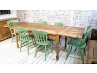 5-8 FT Large Rustic Extending Kitchen Dining Table Set with Turned Legs & Painted Chairs