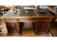 French Partners Desk c1850s with restored leather top