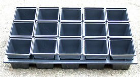 NEW 7cm Square Plant Pots 15 pots in carry tray £2.50 HIGH QUALITY PLASTIC PLANT POTS and Carry Tray