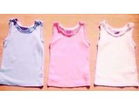 Child Girl Set of 3 Sleeveless Camis Vest Tops in Pink,Blue,White.Age 2-3 Years.