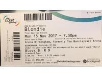 Blondie ticket, Arena Birmingham, stalls, 13 November £70