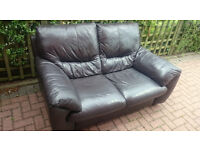 2 seater brown leather sofa. Brand dfs. £70