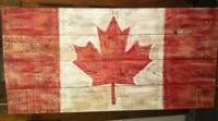 NEW RUSTIC HAND PAINTED DISTRESSED CANADA FLAG WOOD