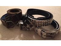 5 used men's belts. River Island, Lowlife and Fat Face brands. All size medium