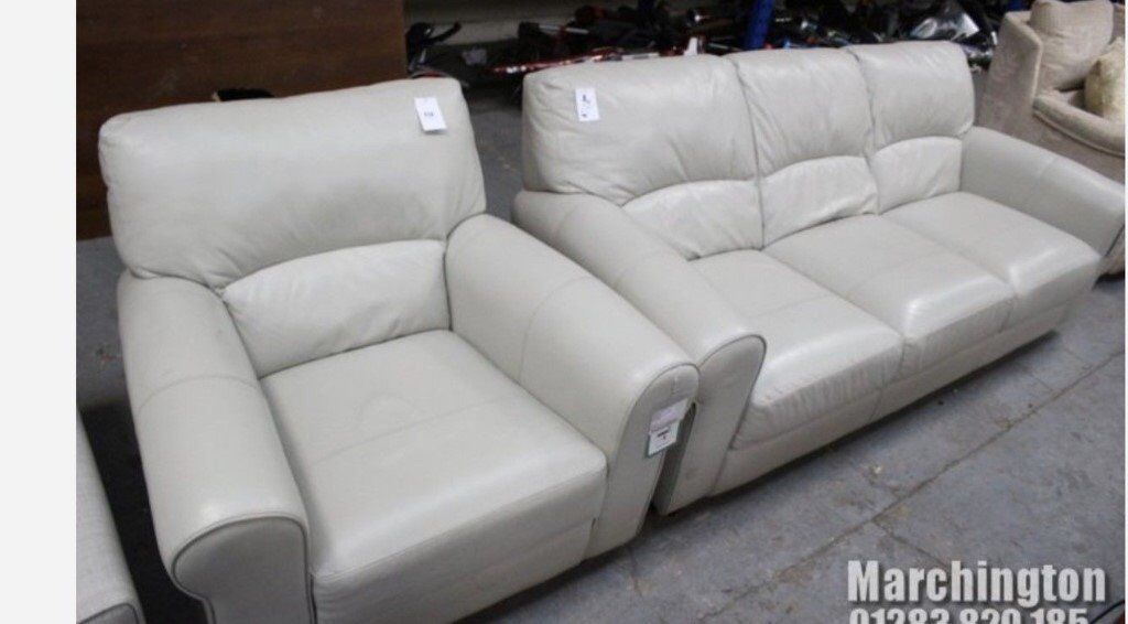 Superb New Dfs Light Grey 3 Seater And Matching 1 Seater Leather Sofa Home Interior And Landscaping Pimpapssignezvosmurscom