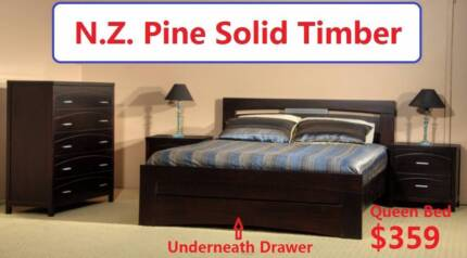 Panama Queen Bed, Solid Wood, N.Z. Pine, Was $399, Now $359
