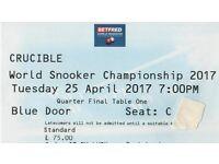1 ticket ***RONNIE O'SULLIVAN v DING JUNHUI*** Tuesday 7pm