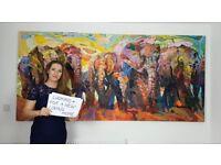* BEAUTIFUL ARTWORK by award winning artist * Original large African elephants oil canvas painting