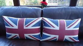 JOHN LEWIS UNION JACK CUSHIONS X 2 LIKE NEW