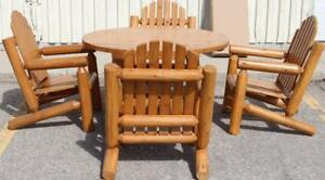 Amish Handcrafted Cedar Wood Log Patio Furniture Sets for your cottage, deck, patio, front porch, garden, etc.