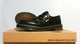 Dr Martens Adult Polley Shoe Black, Yellow Stitch, Single buckle shoe, UK 6
