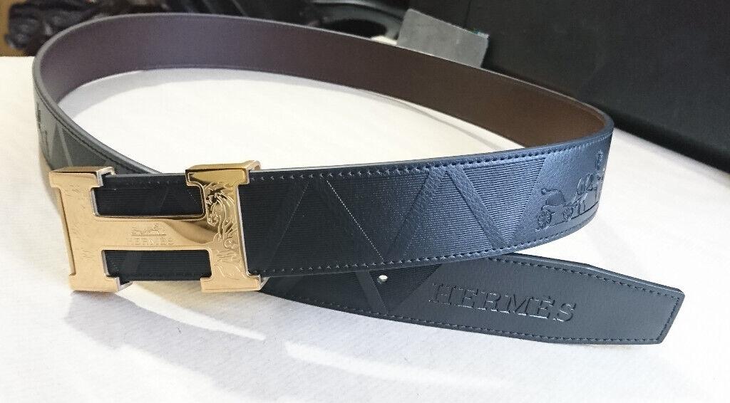 Hermes Paris Real Leather Black Gold Waist Belt 110cm Strap | in London | Gumtree