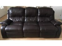 3 seater recliner and 2 seater standard brown leather sofa