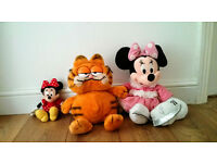 Soft toys: Small Minnie Mouse, Large Minnie Mouse, Large Garfield - all in very good clean condition