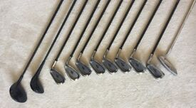 Macgregor HTM cavity stainless head irons 3- S/W with Offset Driver, 5 wood, putter & iron covers.