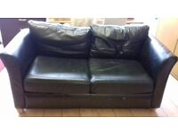 Black Leather 2 Seater Sofa Bed - Good Condition £30