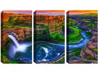 3 Panel Canvas -Mountain with Waterfall - Reduced from £70.00 to clear BRAND NEW