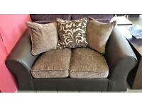 NEW. Faux Leather and Fabric 2 Seater Sofa in Chocolate and Beige