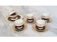 Imperial Bone China Tea Set for Four 22 KT Gold 15 pieces