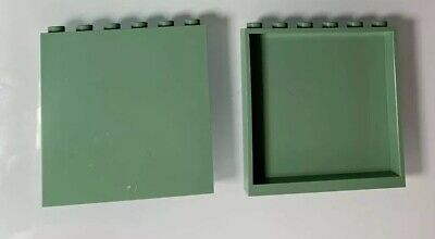 New LEGO Set Of 2 Light Sand Green 1x6x5 Panel / Rare Wall Color Bulk Parts Lot (Colored Sand Bulk)