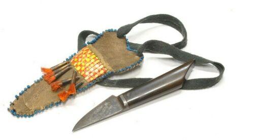 NATIVE AMERICAN PLAINS INDIAN Buffalo Horn Neck Knife Hand Made