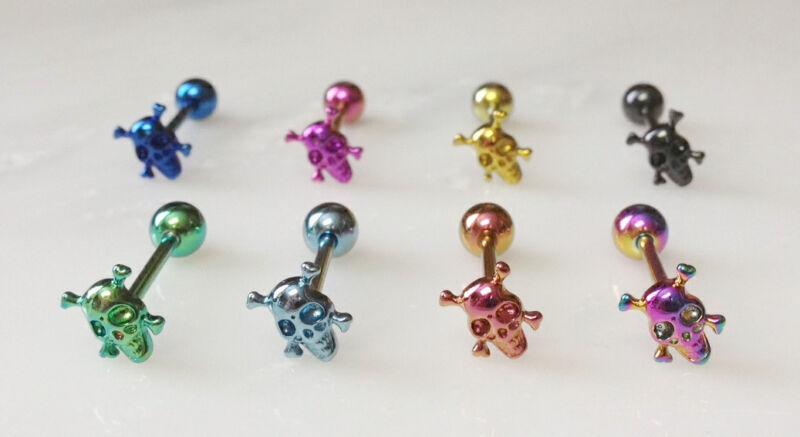 T#98 - 8pc Titanium Anodized Skull Tongue Rings Tounge