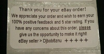 Ebay Thank You For Your Order Labels Stickers 2 X 1 Printed With Your Id100