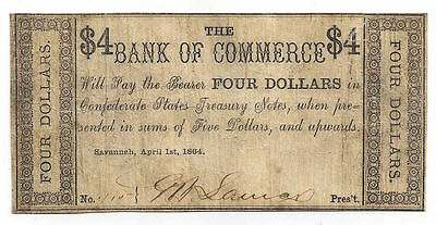 1864 The Bank Of Commerce  Savannah Four Dollar Obsolete Note