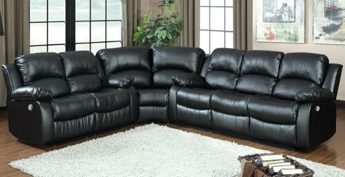 Modern Power Reclining Sectional Sofa Set Black Bonded Leather Living Room Couch