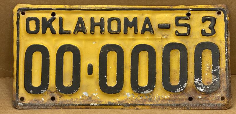 ORIGINAL 1953 •OKLAHOMA• SAMPLE LICENSE PLATE ( 00-0000 ) SHIPS FREE