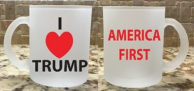 Frosted Glass Coffee Tea Mug Cup I Love Trump America First