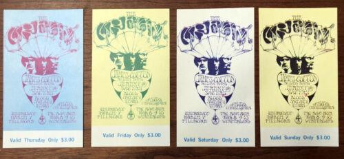 1968 CREAM BILL GRAHAM STANLEY MOUSE FILLMORE POSTER TICKET SET BG 110 MINT!