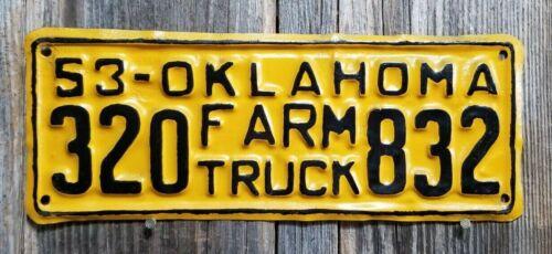 "🐾 1953 OKLAHOMA ""FARM TRUCK"" LICENSE PLATE (AMATEUR REPAINT)"