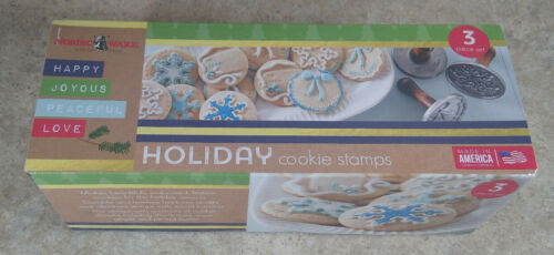 Nordic Ware Christmas Winter Holiday Cast Cookie Stamps Wood Handle Set of 3 NOS