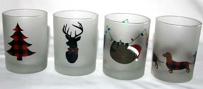 """4 Culver Frosted Christmas Varied Plaid DOF LowBall 4-1/8"""" Glass Tumblers NEW"""