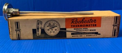 Rare NOS Rochester Manufacturing Company Industrial Thermometer 9 Inch Stem 1768