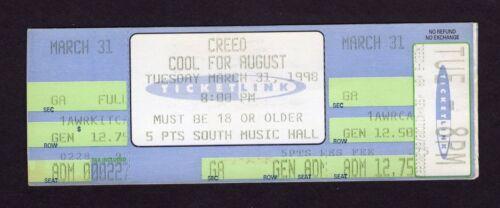 Original 1998 Creed unused full concert ticket Birmingham AL My Own Prison
