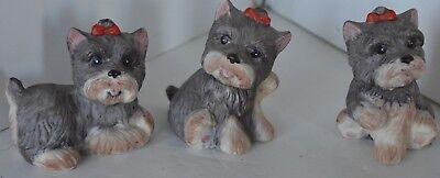 Vintage Shih Tzu Dog Box Porcelain Figure Lot of 3