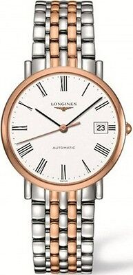 L48095117 Longines Elegant Womens Watch White Dial Steel 18K Rose Gold Auto