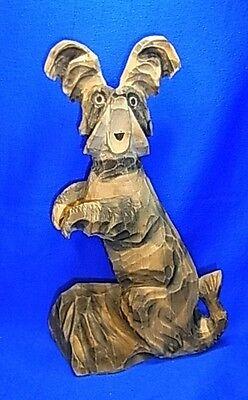 Vintage German Wood Carved Terrier Dog Figurine #AG