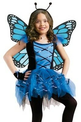 Blue Fairy Butterfly Ballerina Tutu Costume Girls Childs - S 4-6 M 8-10 L 12-14 - Blue Tutu Costumes