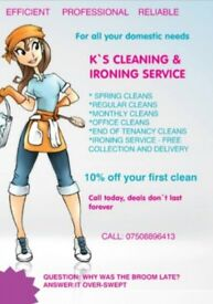 K's cleaning and ironing service.