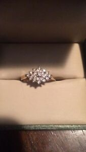 14K yellow gold ladies diamond cluster ring with certificate