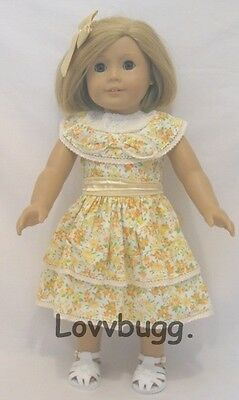 "Kit Yellow Print Thirties Summer Dress for 18"" American Girl Doll Clothes"