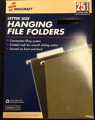 Skilcraft Hanging File Folders 13 Cut Letter-size 25box Green 9497