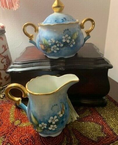 Vintage( Antique?) Sugar Bowl & Creamer Signed by Artist Hand Painted Floral