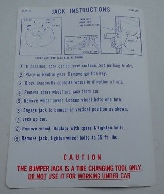 Mopar 68 Dodge Charger Jack Instructions Decal NEW 1968 2856102 DD0013