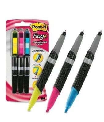 Ink Combo Highlighter Pen Black Flags Markers Blue Pink Yellow Multi-colors New